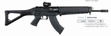 SIG556 r ussian caliber 7.62 x 39mm 30 neW roundS ƒƒAccepts Most AK-Type Magazines ƒƒAvailable