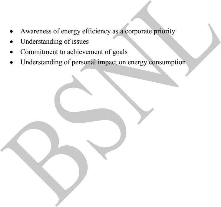 Awareness of energy efficiency as a corporate priority Understanding of issues Commitment to achievement of