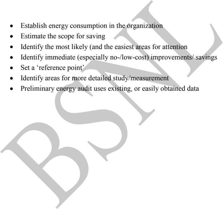 Establish energy consumption in the organization Estimate the scope for saving Identify the most likely