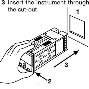 3 Insert the instrument through the cut-out 1 3 2