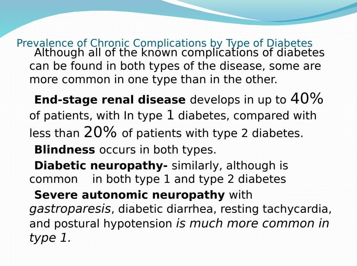Prevalence of Chronic Complications by Type of Diabetes Although all of the known complications of diabetes