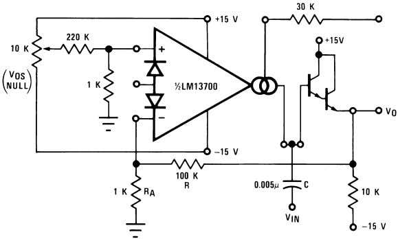 Voltage Controlled Filters (Continued) 00798119 FIGURE 12. Voltage Controlled Hi-Pass Filter 00798120 FIGURE 13. Voltage
