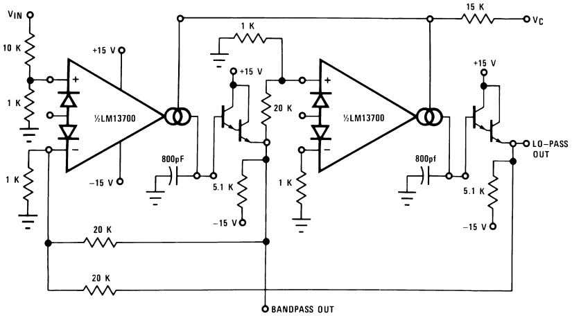 Voltage Controlled Filters (Continued) 00798121 FIGURE 14. Voltage Controlled State Variable Filter Voltage Controlled