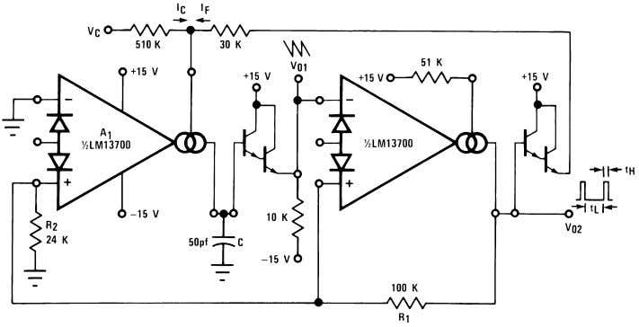 Controlled Oscillators (Continued) 00798122 FIGURE 15. Triangular/Square-Wave VCO 00798123 FIGURE 16. Ramp/Pulse VCO
