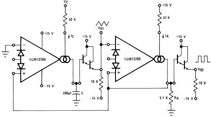 Voltage Controlled Oscillators (Continued) 00798122 FIGURE 15. Triangular/Square-Wave VCO 00798123 FIGURE 16. Ramp/Pulse