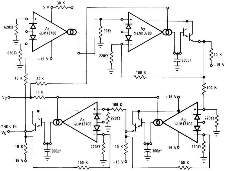 Voltage Controlled Oscillators (Continued) 00798124 FIGURE 17. Sinusoidal VCO 00798125 Figure 18 shows how to build