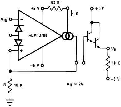 produce a Schmitt Trigger with variable hysteresis. 00798128 00798129 FIGURE 22. Schmitt Trigger Figure 23 shows