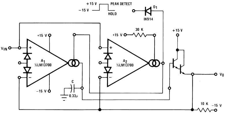 Applications (Continued) FIGURE 23. Tachometer 00798130 00798131 FIGURE 24. Peak Detector and Hold Circuit The
