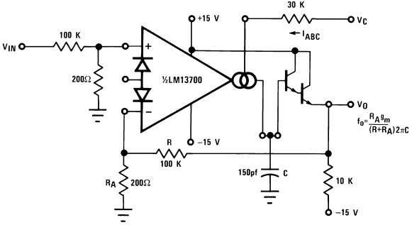 One Operational Transconductance Amplifier Typical Application 00798101 00798118 Voltage Controlled Low-Pass Filter