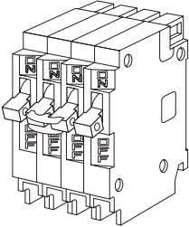 handle-tied, two-pole breakers for 120/240 VAC circuits. Both triplex and quadplex breakers require two panel spaces.