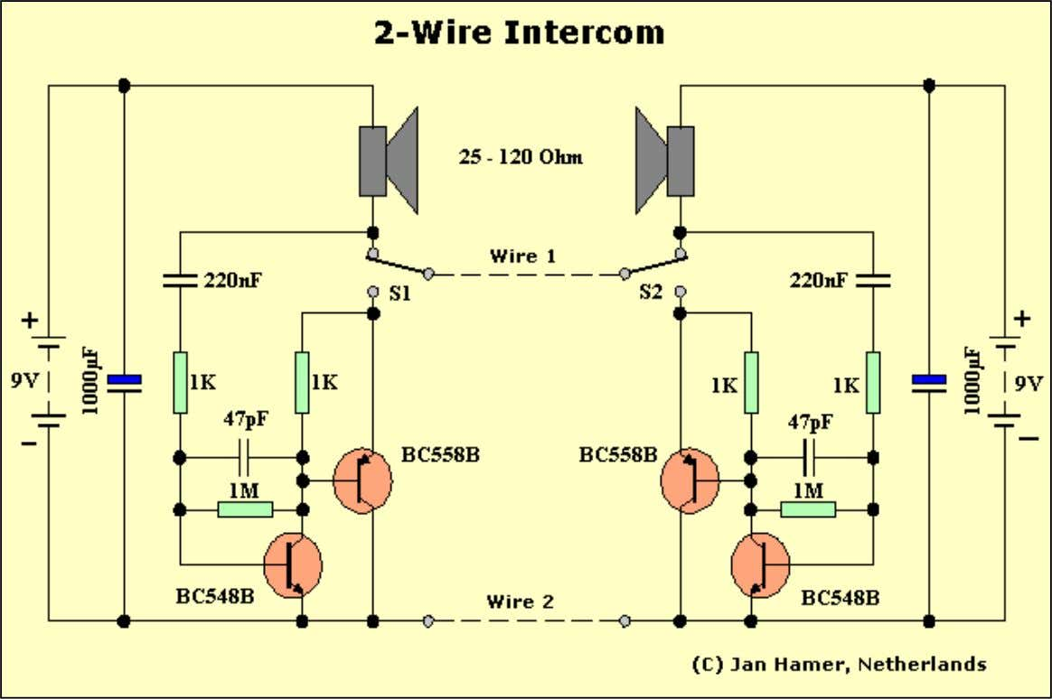 "Intercom, the circuit below will suit your needs."" Replacements: BC548B = NTE123AP, or TUN. BC558B ="