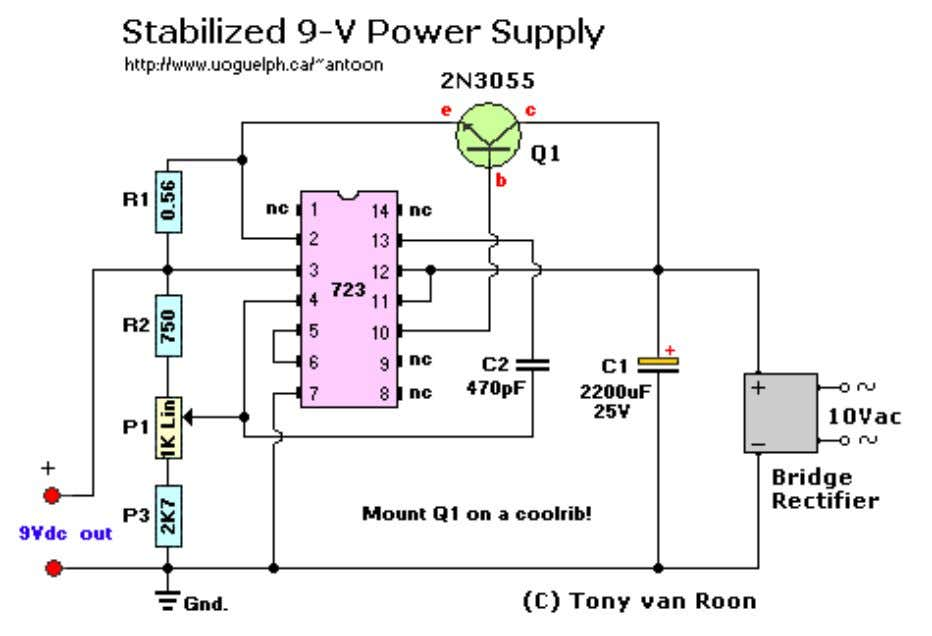 Parts List: T1 = 115/10 VAC transformer. Center Tap not needed. IC1 = µA723, LM723,