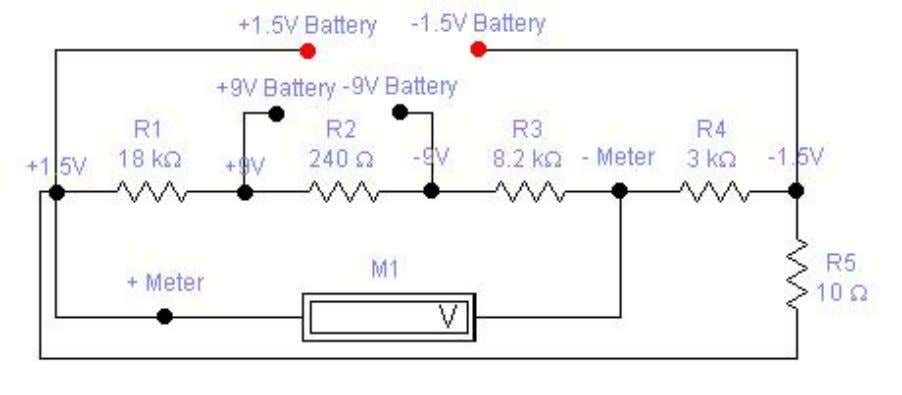 Battery Tester for 1.5 and 9V by Matthew B. Parts List: R1 = 18K R2 =