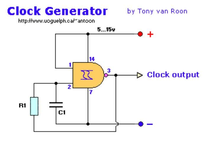 o - Excellent clock generator to drive 4017 type cmos circuits. o - R1 =