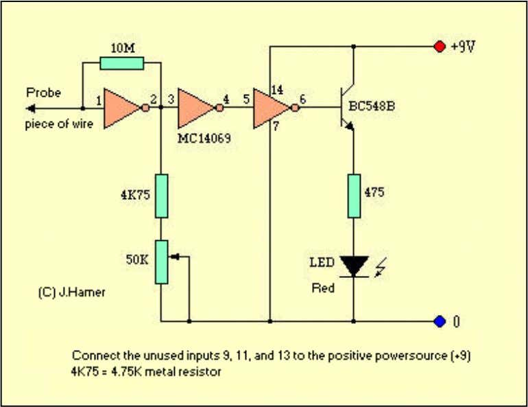 "The heart of this little ""CIRCUIT"" is established by a hex inverter IC, the MC14069."