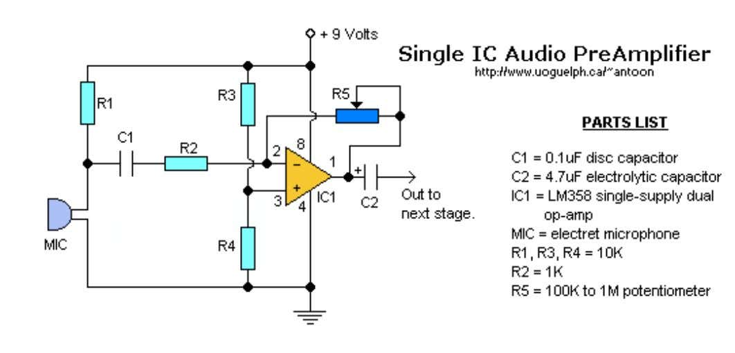 Single IC Audio Preamplifier by Tony van Roon Additional Notes Parts are non-critical components and available