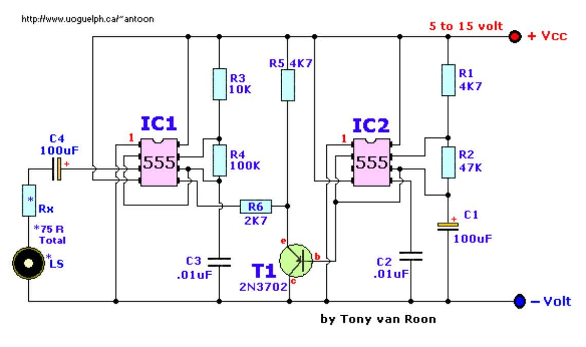 Wailing Alarm Siren by Tony van Roon Parts List: R1,R5 = 4.7K R2 = 47K R3