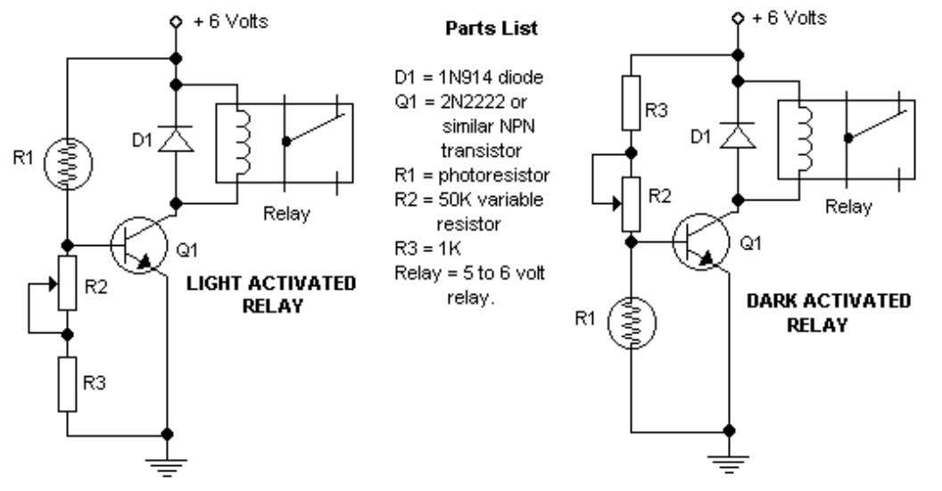 Dark/Light Activated Relay Additional Notes None of the parts are critical and easy available. The potmeter