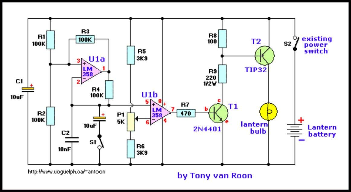 Lantern Dimmer/Flasher by Tony van Roon Parts List R1 = 100K R2 = 100K R3 =