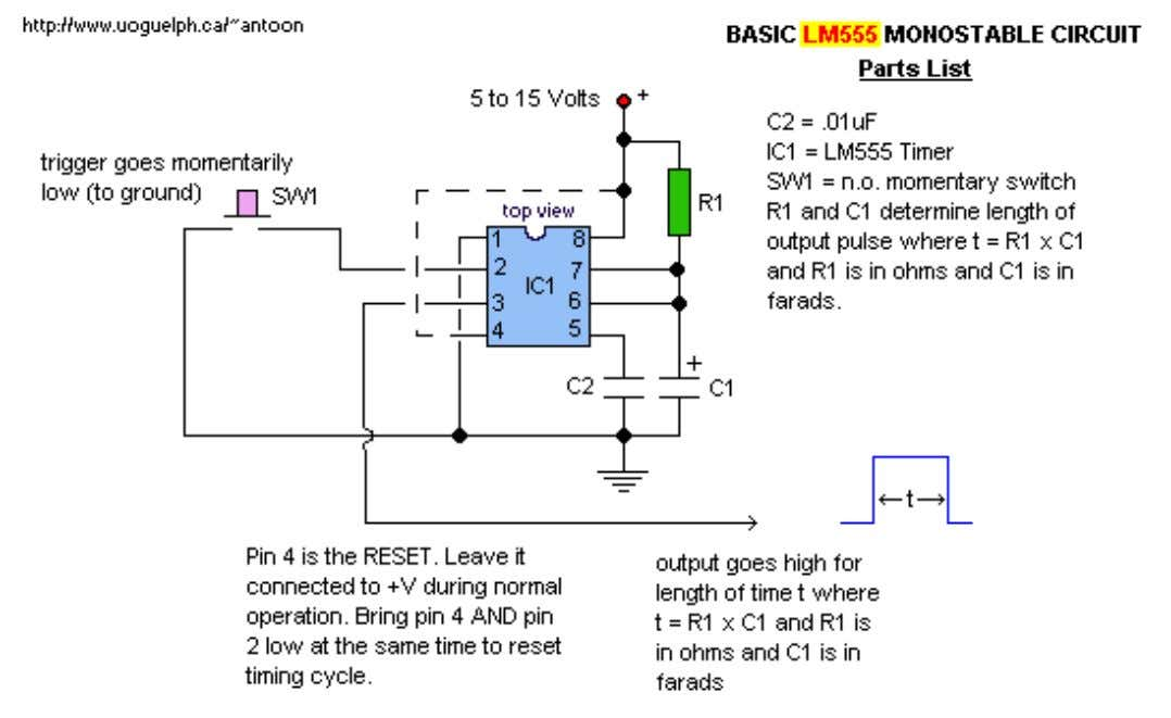 Basic IC MonoStable Multivibrator by Tony van Roon Back to Circuits page