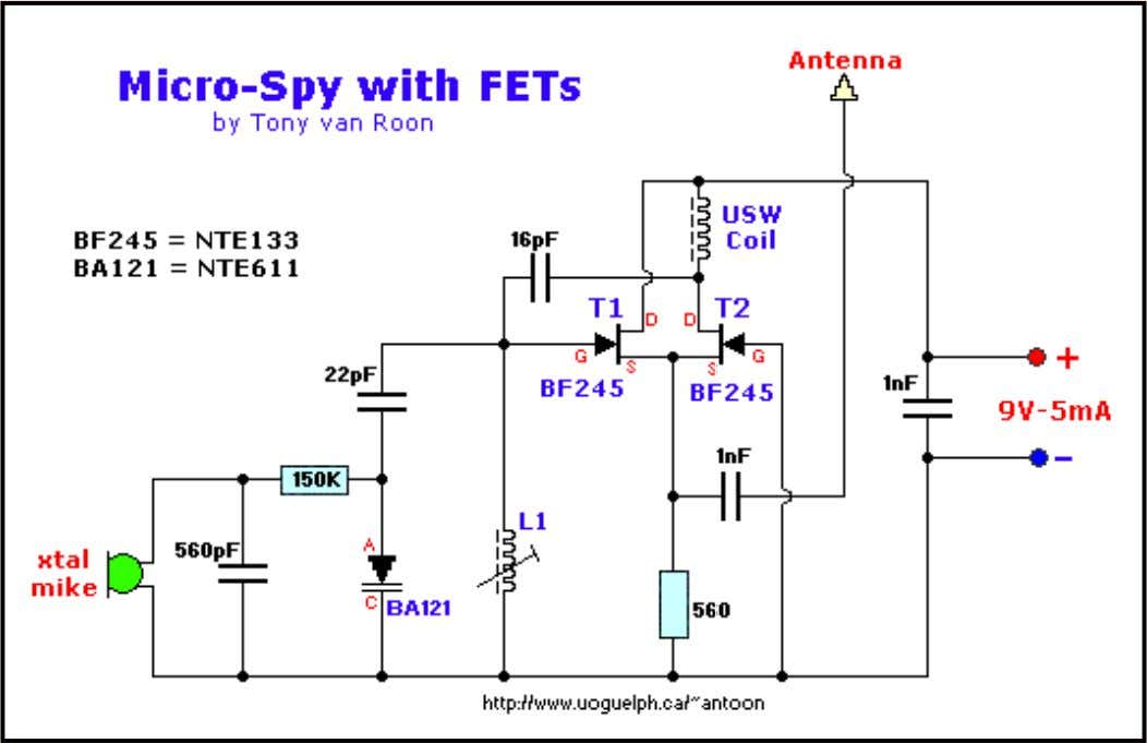 o T1 & T2 are BF245 N-channel FET's and can be replaced with a NTE133.