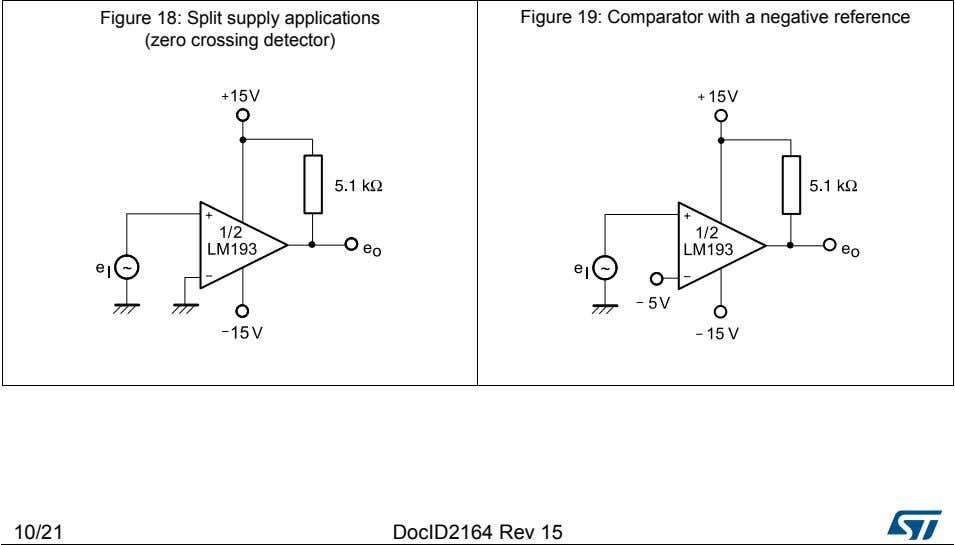 Figure 18: Split supply applications (zero crossing detector) Figure 19: Comparator with a negative reference
