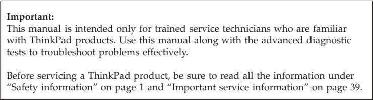 3239 Use this manual along with the advanced diagnostic tests to troubleshoot problems. © Copyright Lenovo