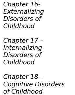 Chapter 18 – Cognitive Disorders of Childhood Externalizing Chapter 17 – Internalizing Disorders of Childhood Disorders