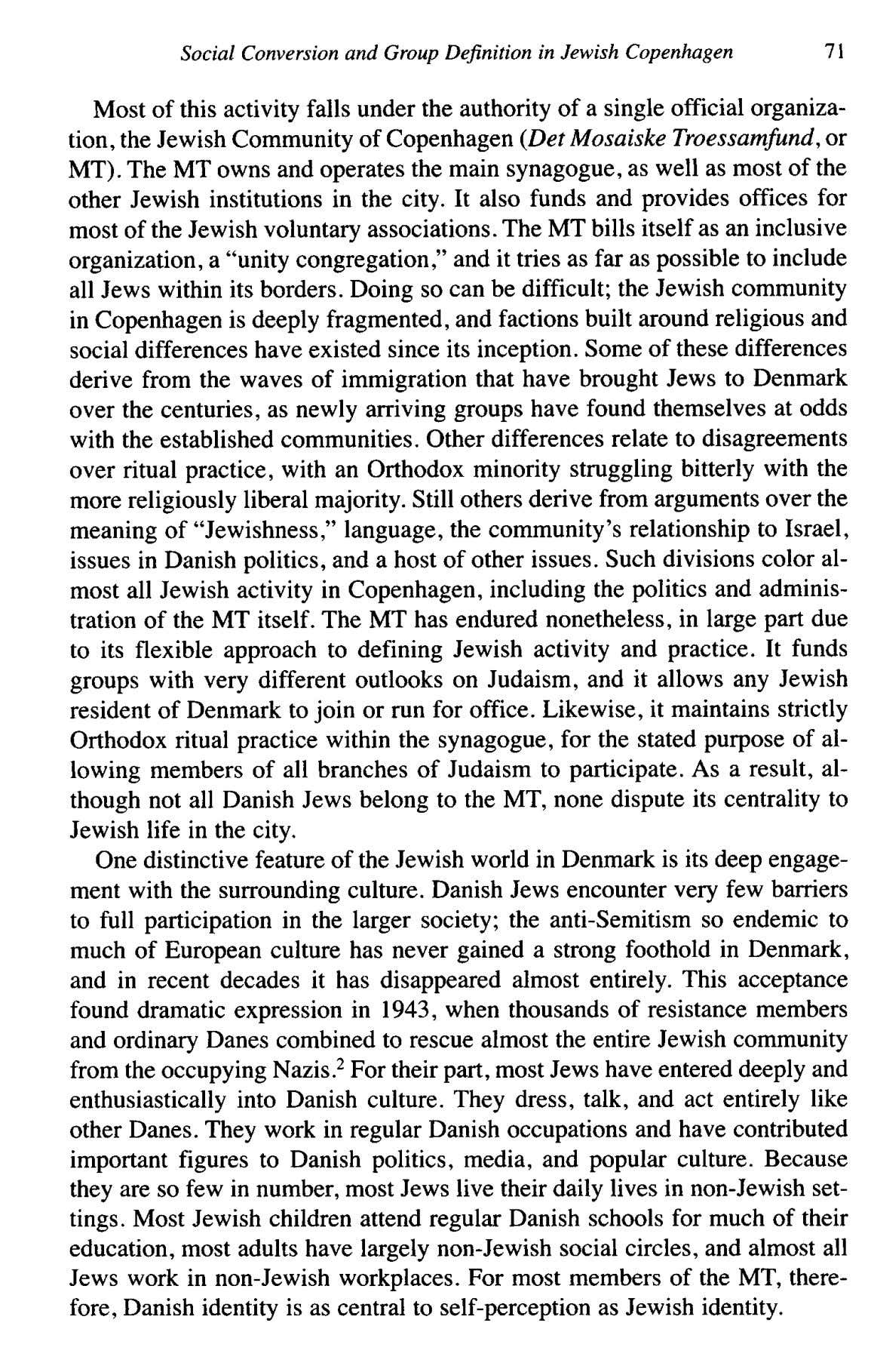 Social Conversion and Group Definition in Jewish Copenhagen 71 Most of this activity falls under