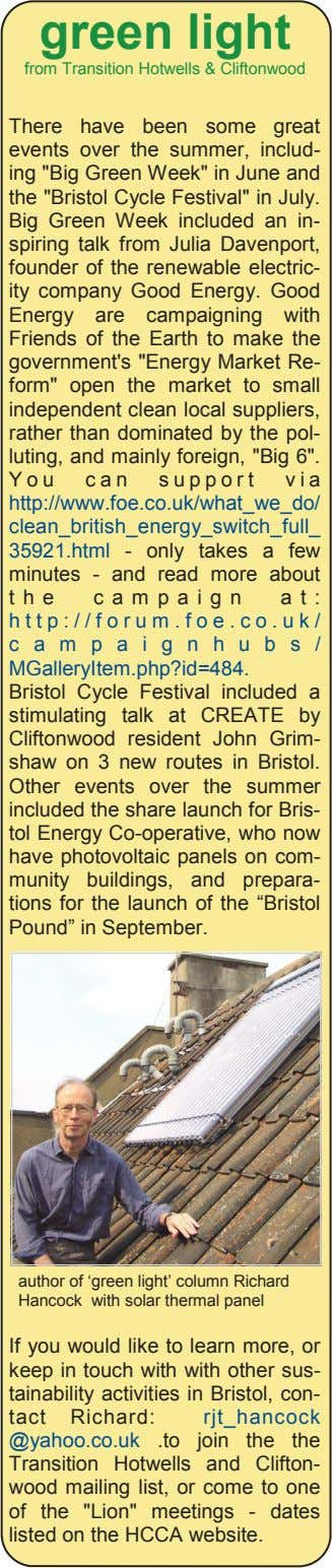 green light from Transition Hotwells & Cliftonwood There have been some great events over the