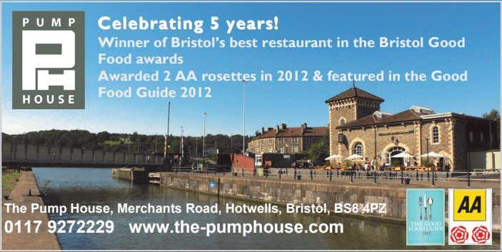 CelebratingCelebratingCelebrating 555 years!years!years! Winner of Bristol's best restaurant in the Bristol Good Food