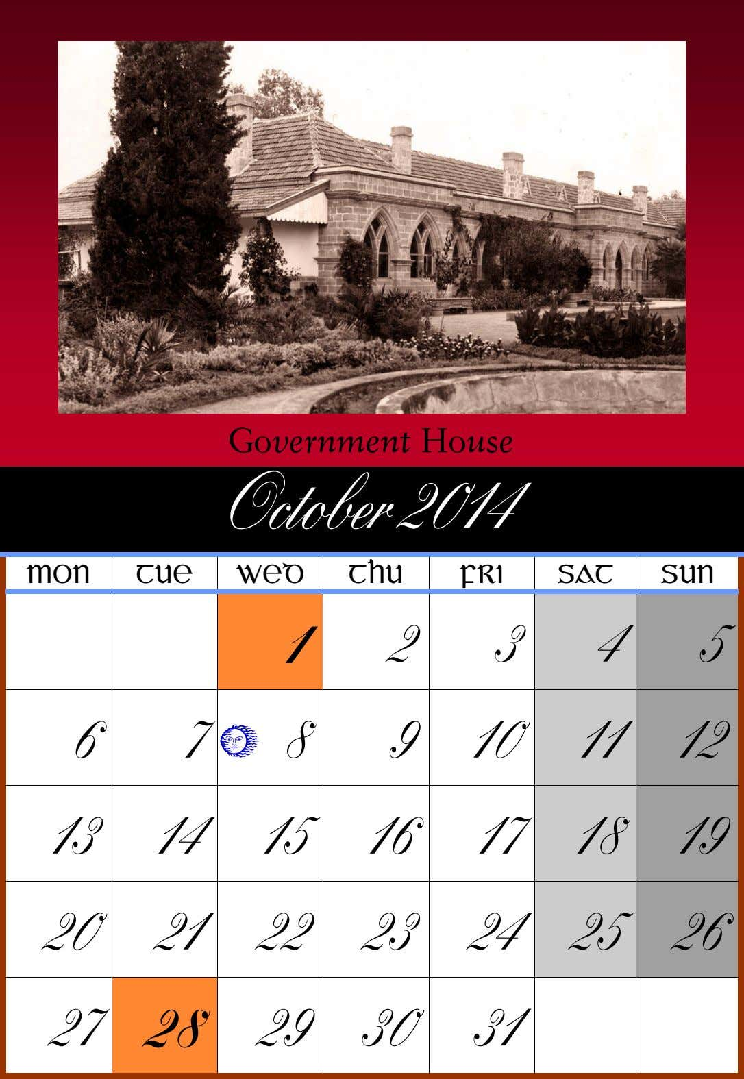 Government House October 2014 MON TUE WED THU FRI SAT SUN 1 2 3 4
