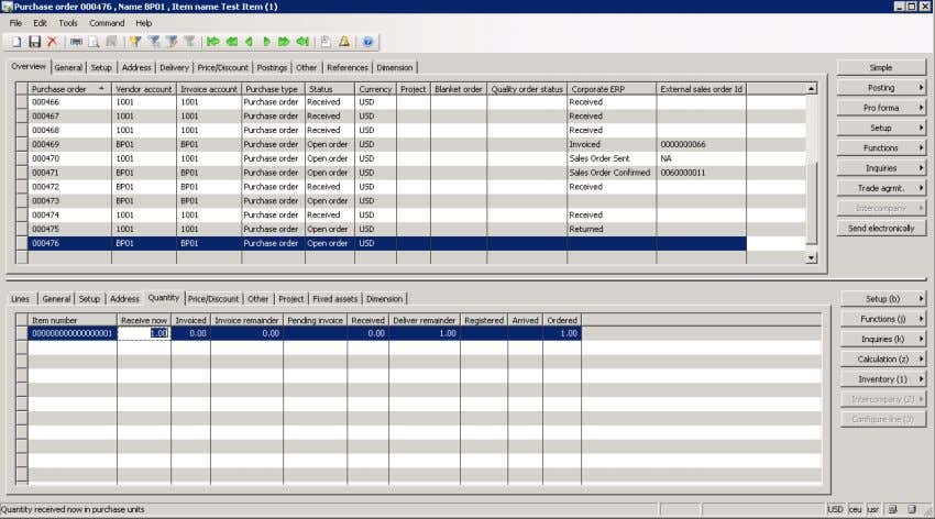 form with the Send electronically button in the header. Microsoft Dynamics AX Purchase Order. The following