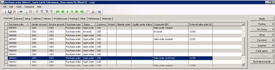 the Corporate ERP field equal to Sales order confirmed. Microsoft Dynamics AX Purchase Order Screen –