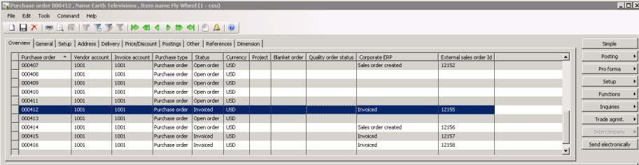 Microsoft Dynamics AX Purchase Order Screen – Purchase Order is invoiced. 6. CONCLUSION The Regional