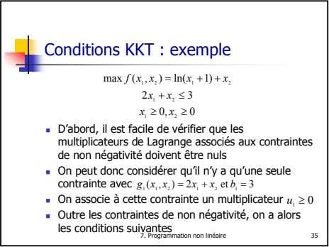 Conditions KKT : exemple max f x x ( , ) = ln( x +