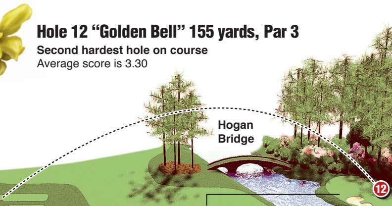 "Hole 12 ""Golden Bell"" 155 yards, Par 3 Second hardest hole on course Average score"