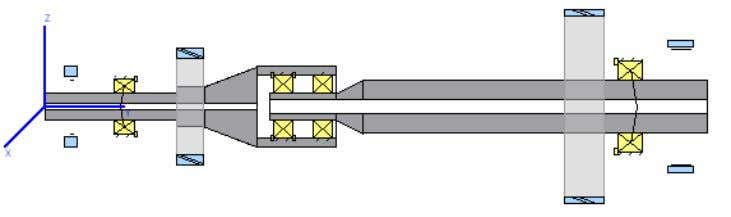 pre-tension of the tapered roller bearings can be shown. Figure 3-3 Shaft arrangement with pilot bearing.