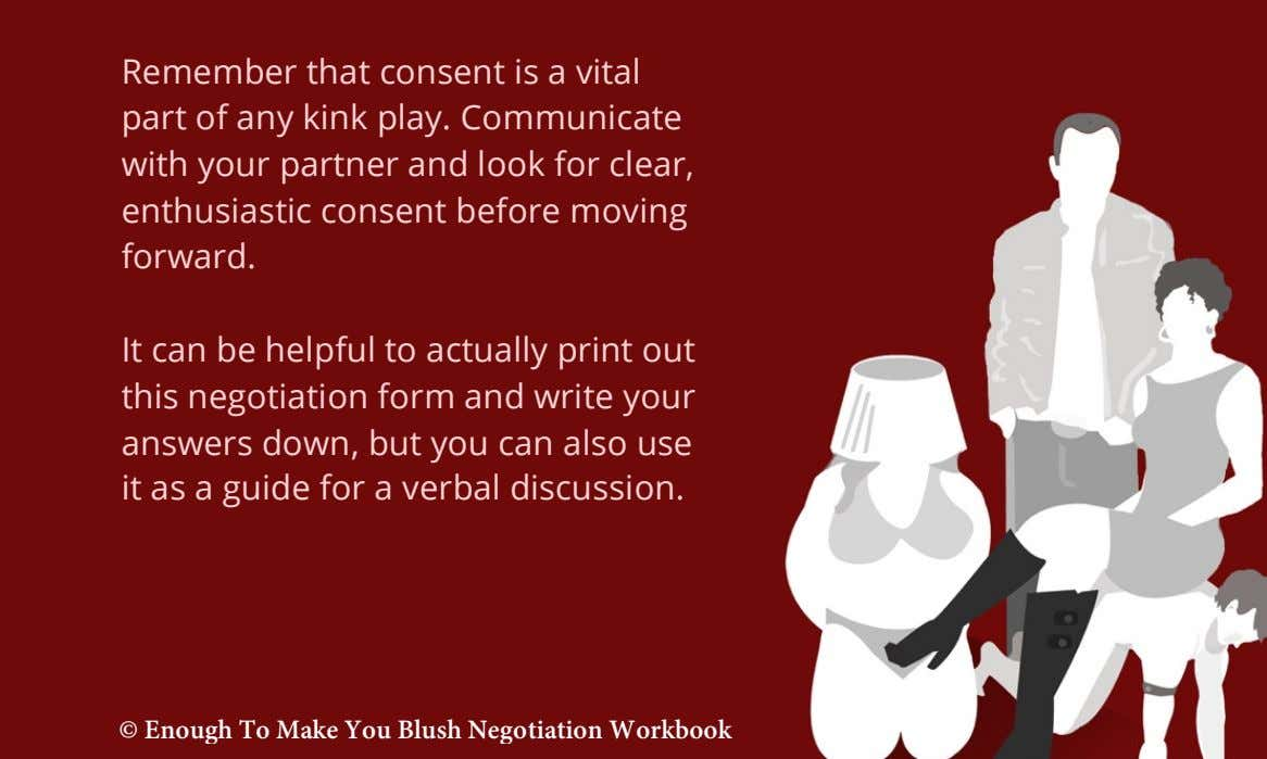 Remember that consent is a vital part of any kink play. Communicate with your partner