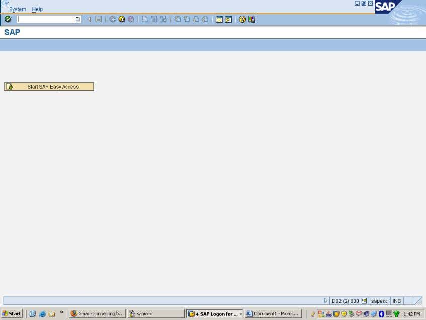 12. You have successfully logged on to SAP ECC6 server from SAP BI7 using User