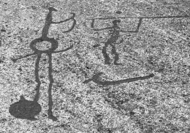 10 CULTURE AND CUSTOMS OF SWEDEN Bronze Age rock scribbings from Tanum. These images date to