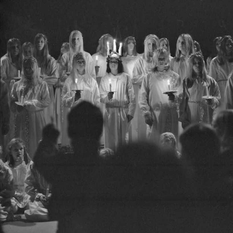 70 CULTURE AND CUSTOMS OF SWEDEN Lucia Celebration. Traditionally held on December 13 across all of