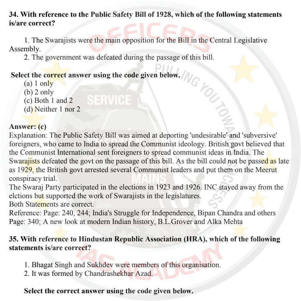 34. With reference to the Public Safety Bill of 1928, which of the following statements