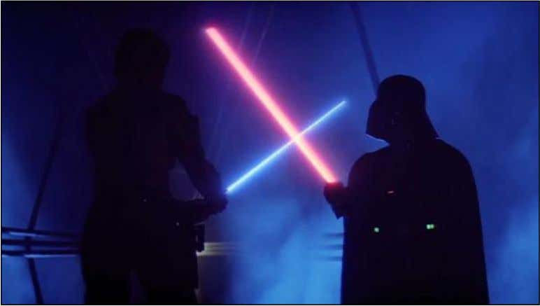 Figure 6 – Lightsabers from Star Wars 1977 (Source: Jeffryn, 2009). Knowing that colour perception