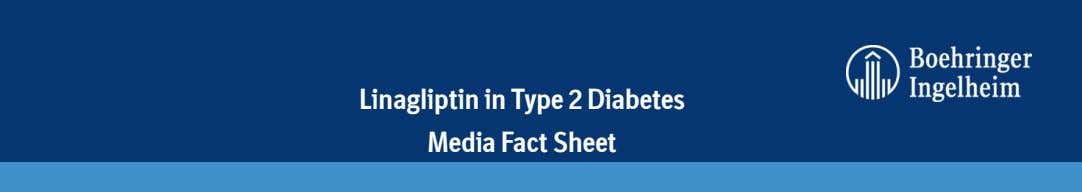Linagliptin in Type 2 Diabetes Media Fact Sheet