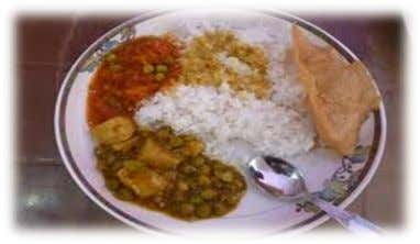 prevalent and main course Nepali dish is 'Daal, Bhaat and Tarkaari' (lentils, rice, vegetable curry respectively).