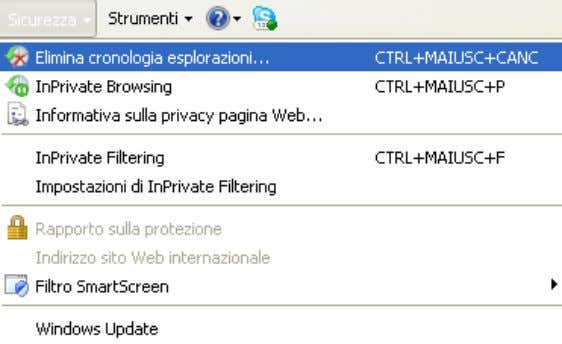 InPrivate Browsing di Internet Explorer, presente nel menu Sicurezza . InPrivate Browsing © Matematicamente.it