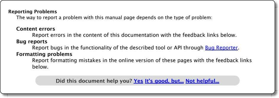 Reporting Problems The way to report a problem with this manual page depends on the
