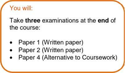 You will: Take three examinations at the end of the course:  Paper 1 (Written