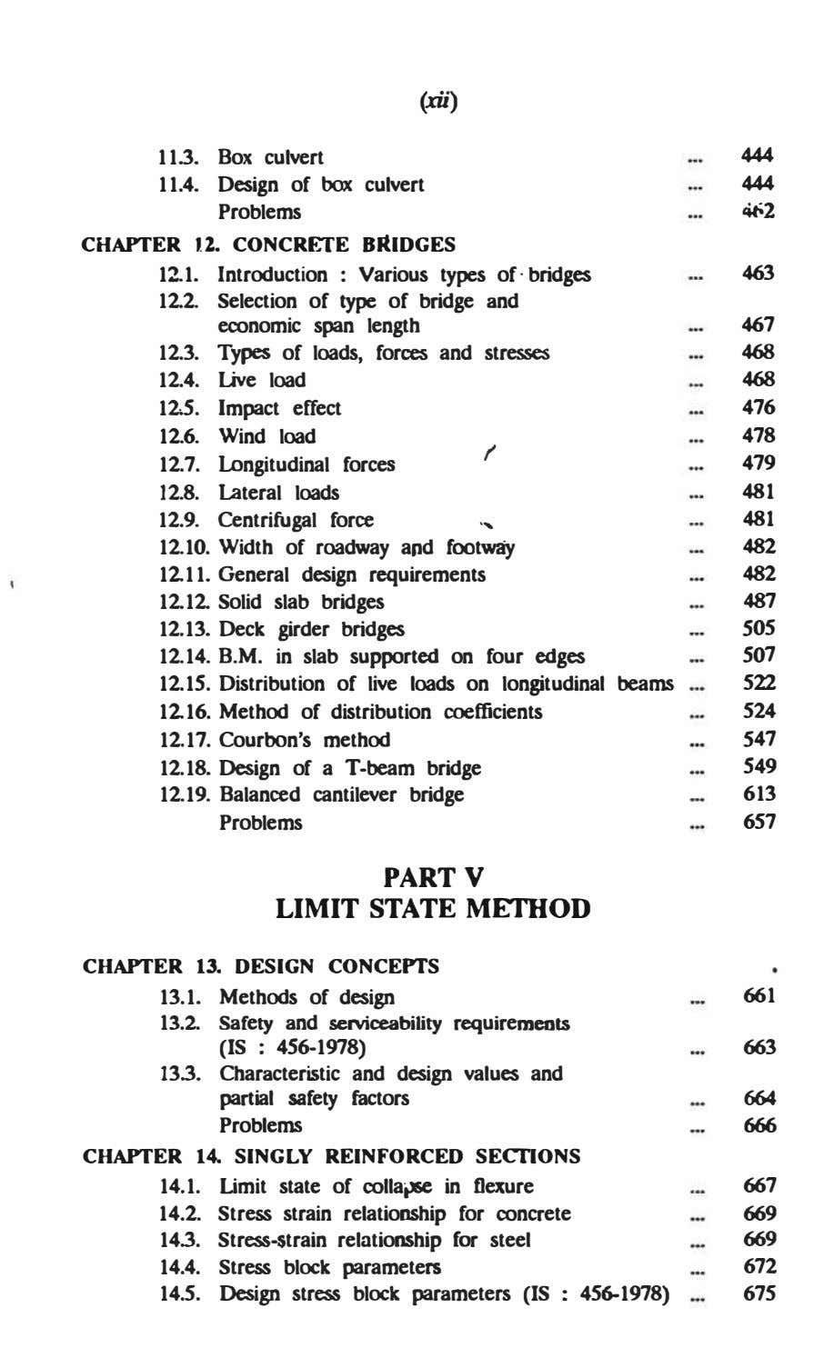 (xii) 11.3. Box culvert 444 11.4. Design of box culvert Problems 444 4'-2 CHAPTER 12.
